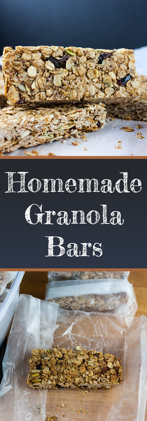 Homemade Granola Bars - Easy, healthy and the perfect combination of crunchy and chewy. No refrigeration needed!