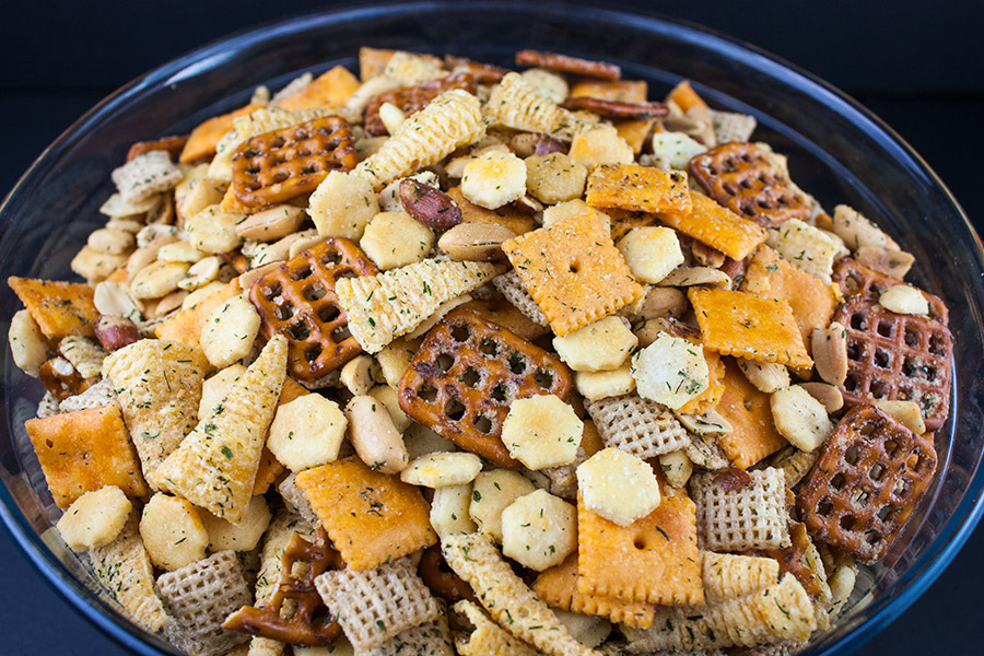 party mix in a bowl