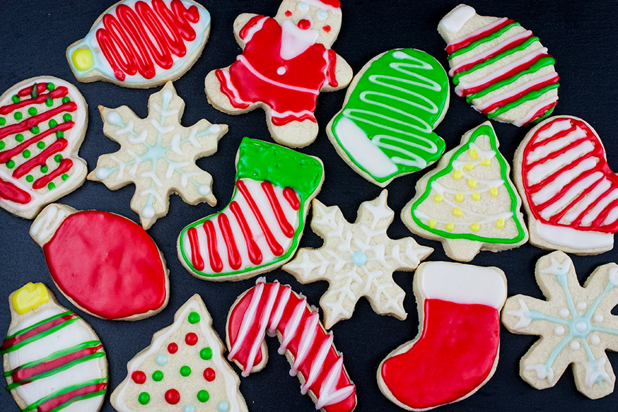 decorated cookies on slate
