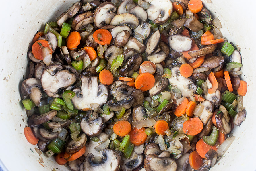 celery, carrots, onion and mushrooms sauteed in dutch oven