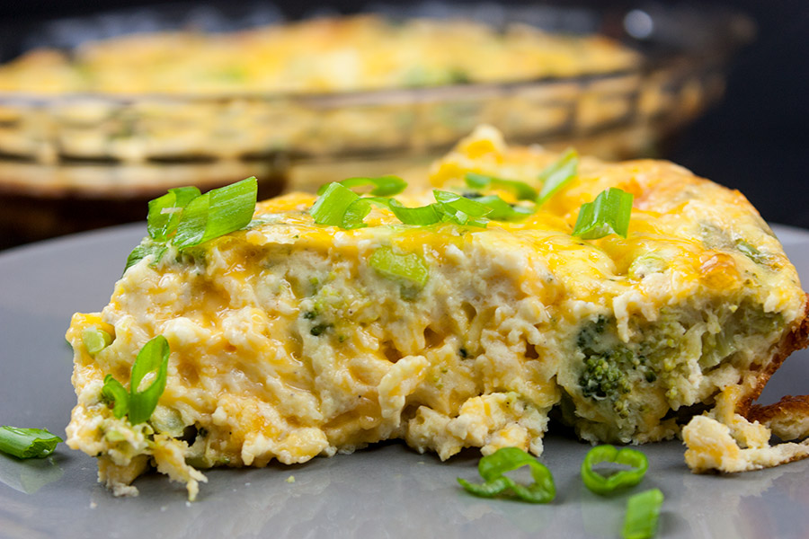 Crustless Broccoli Cheddar Quiche - So full of flavor you will never miss the crust. This crustless quiche is fluffy, creamy and loaded with cheesy goodness.