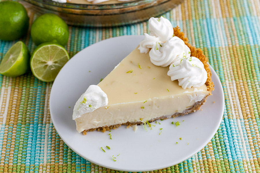 slice Easy Key Lime Pie on white plate