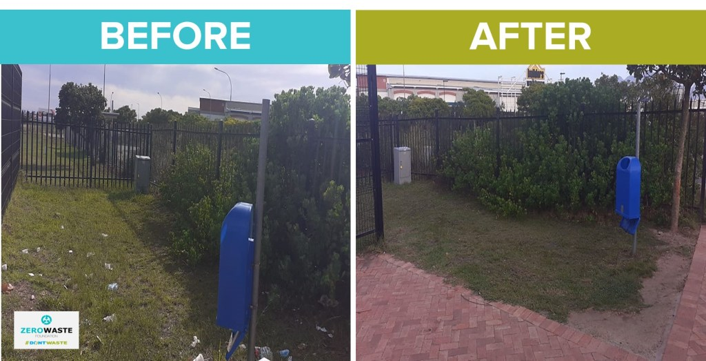 before and after garden route mall bus stop area