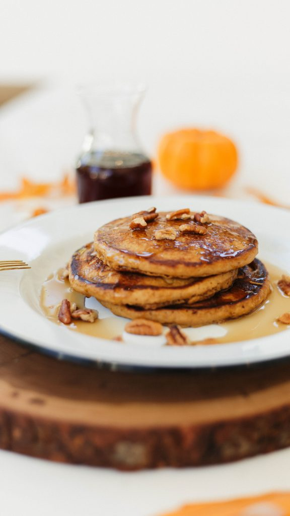 pumpkin spice pancakes with bourbon maple syrup