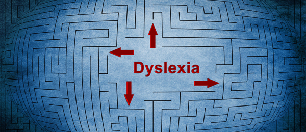 A maze drawn on paper with the word dyslexia in red in the center with four arrows pointing to different entrances to paths in the maze. When adults with dyslexia understand and accept that their dyslexia is as good as it gets, they know which options are open to them and it brings them peace of mind.