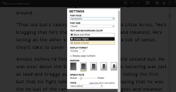 Bookshare web reader settings small