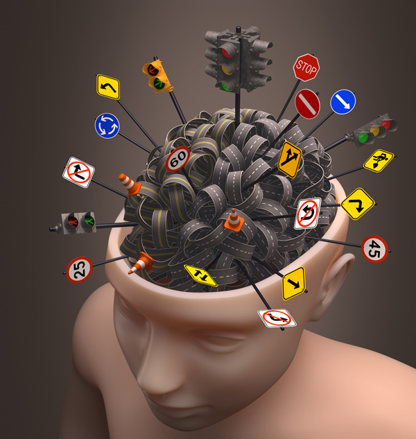 Picture of a mannequin head that is open on top with many winding roads and road signs bulging out of the brain.