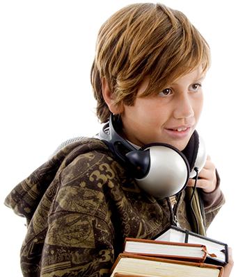 Boy Enjoying Audio Books small