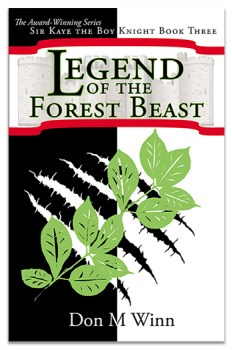 Adventure chapter books for kids. Cover of Legend of the Forest Beast, by Don M. Winn. The cover is divided vertically in half. The left half is black and the right half is white. Black-and-white claw marks are centered on the lower half of the cover. The left half of the claw marks is white and the right half of the claw marks is black, to contrast with the background. A spray of green leaves overlays the claw marks and a red-bordered banner with a faint image of a castle on it at the top of the cover contains the title of the book.