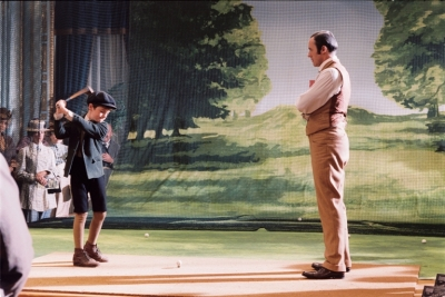 "Scene from the movie ""The Greatest Game Ever Played"" where young Francis Ouimet tries and fails to hit a golf ball in front of an audience."