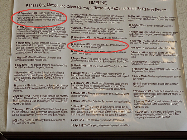 A timeline of the Kansas City, Mexico, and Orient Railway of Texas (KCM&O) and Santa Fe Railway System. First circled date is in 1888 when the Santa Fe Railway arrived in San Angelo. The second circled date is when the first scheduled train on the KCM&O line arrived in San Angelo.