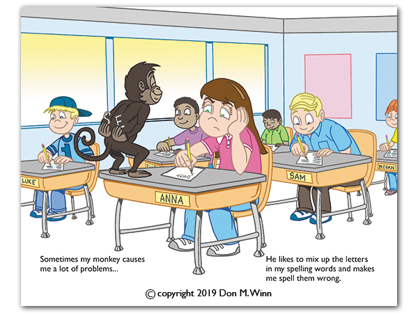 Third-grader Anna sits at her desk trying to take a spelling test while a mischievous monkey steals some of the letters she needs. From the book There's a Monkey in My Backpack! by Don M. Winn.