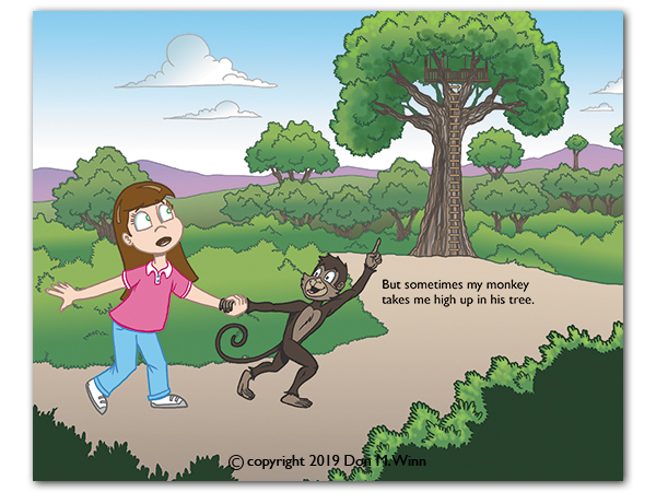 Anna's monkey companion takes her up into his tree house to see the big picture, helping her see that dyslexia and other learning difficulties have a positive side as well. From the picture book There's a Monkey in my Backpack! by Don M. Winn.