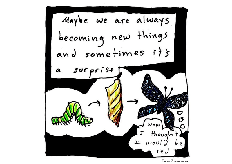 "Art by Edith Zimmerman depicting a caterpillar, than a cocoon, then a butterfly. The caption reads ""Maybe we are always becoming new things and sometimes it's a surprise."" The butterfly in the art is thinking ""Wow, I thought I would be red."" Zimmerman uses comics as a coping skill."