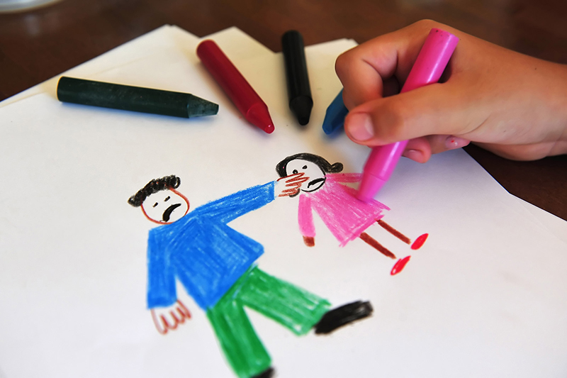 A child's drawing of a father pointing at a daughter expresses frustration. Parents can help dyslexic children adapt to virtual school by taking the time to make sure their children understand all the things they are feeling during this time of transition.