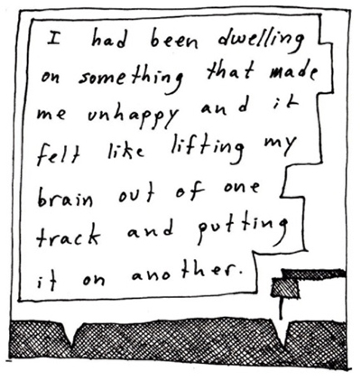 "Square cartoon titled Tempest by Edith Zimmerman where she uses drawing as therapy by depicting a record needle in a track. The text reads ""I had been dwelling on something that made me unhappy and it felt like lifting my brain out of one track and putting it on another."""