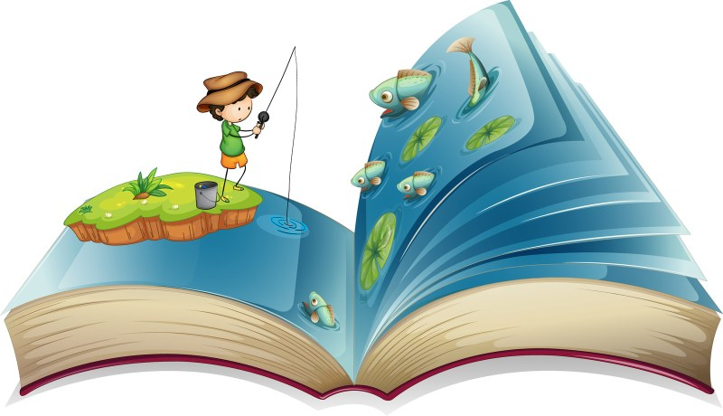 A cartoon boy is fishing in a pond full of fish that looks like the inside of a book.
