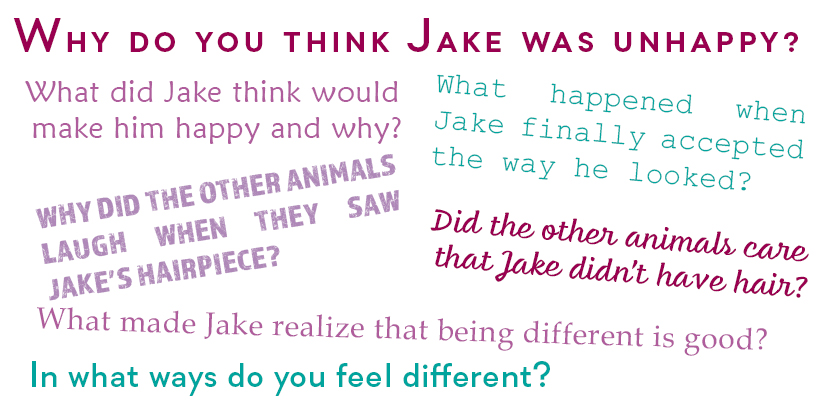 Sample conversation starting questions from the picture book The Tortoise and the Hairpiece by Don M. Winn. Image is all text. Some of the questions in the image are: Why do you think Jake was unhappy? What did Jake think would make him happy and why? What made Jake realize that being different is good? These questions can be used to start conversations with kids about how to have a positive body image.