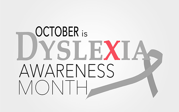 A banner featuring the words October is Dyslexia Awareness Month. Studying the genetics of dyslexia can make earlier diagnosis possible, enabling children to get the the help they need as soon as possible.