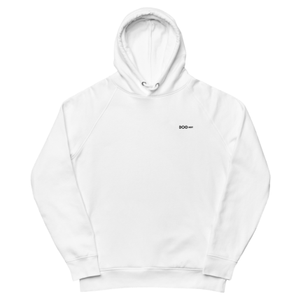 Unisex pullover hoodie embroidered with small logo white