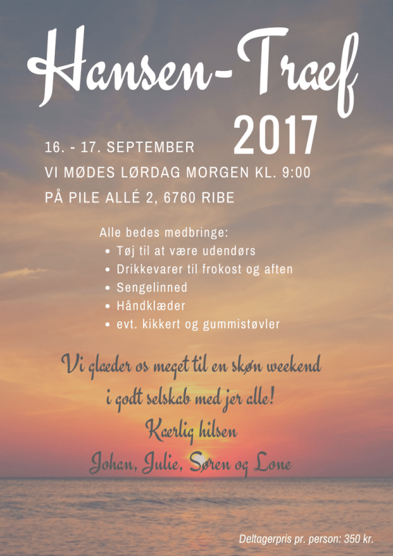 Invitation til familieweekend