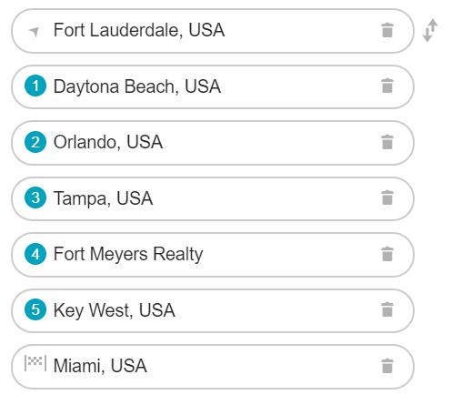 Vores rute i Florida