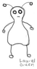 a doodle of a sad alien