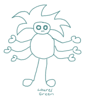 a doodle of a boy with eight limbs
