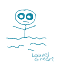 a doodle of a boy that can't swim