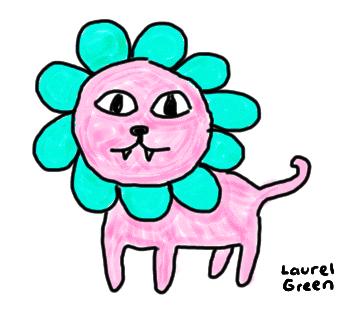 a colourful doodle of a lion