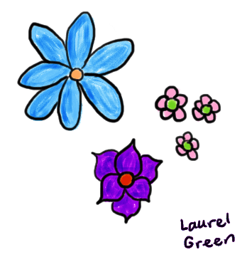 a drawing of fiVe flowers