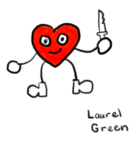 a drawing of an anthropomorphic heart with a knife