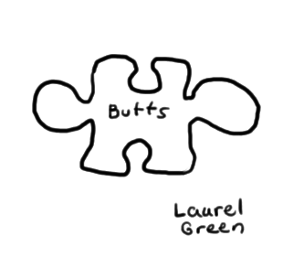 "a drawing of a puzzle piece with the word ""butts"" written on it"
