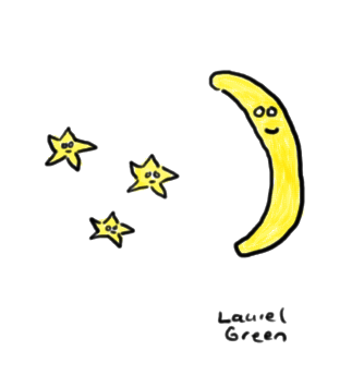 a drawing of a crescent moon and some stars