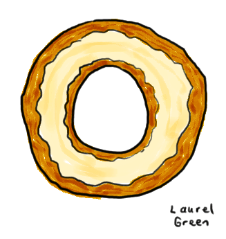 a drawing of a bagel