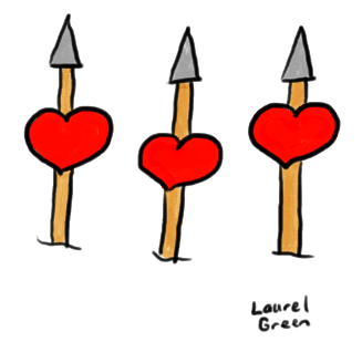 a drawing of three hearts on three spears