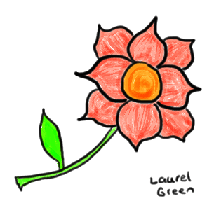 a drawing of a pink flower with a stem and leaf