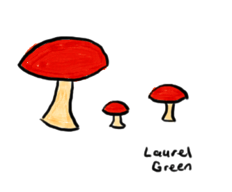 a drawing of three mushrooms