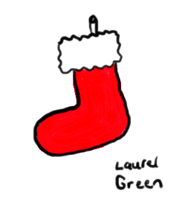 a drawing of a christmas stocking