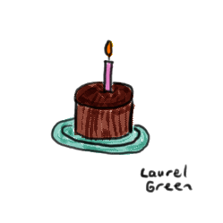 a drawing of a birthday cake with one lit candle