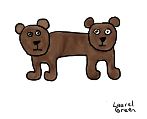 a drawing of a double-ended bear