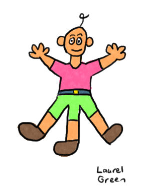 a drawing of a three-legged man
