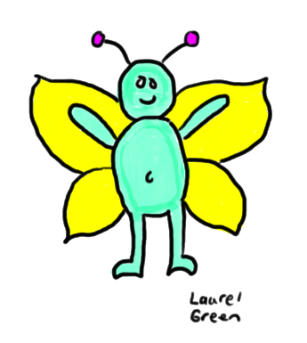 a drawing of a man with butterfly wings