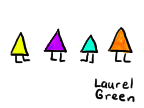 a drawing of four triangles with legs