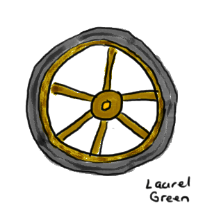 a drawing of a wagon wheel