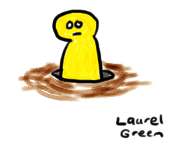 a drawing of a yellow man inside a hole