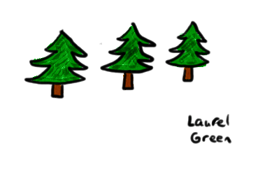 a drawing of three pine trees