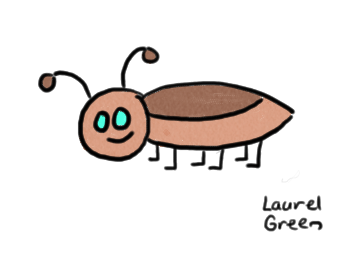 a drawing of a roach with a smile
