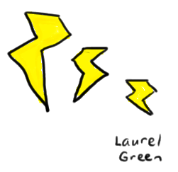 a drawing of three lightning bolts