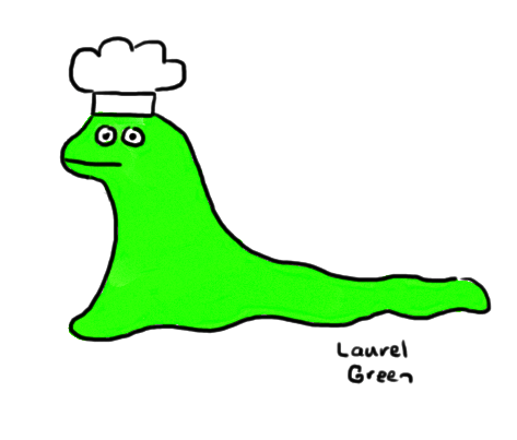 a drawing of a slug wearing a chef's hat